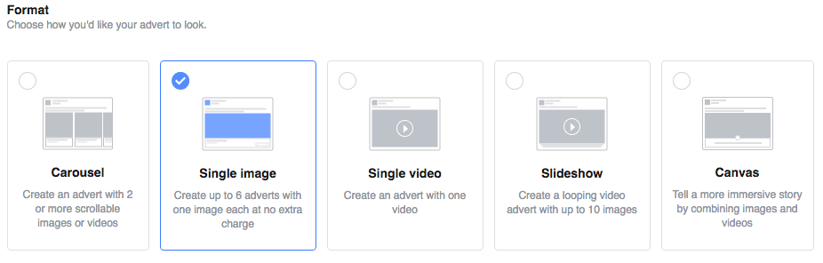 Image and Video Options - Facebook Paid Ads