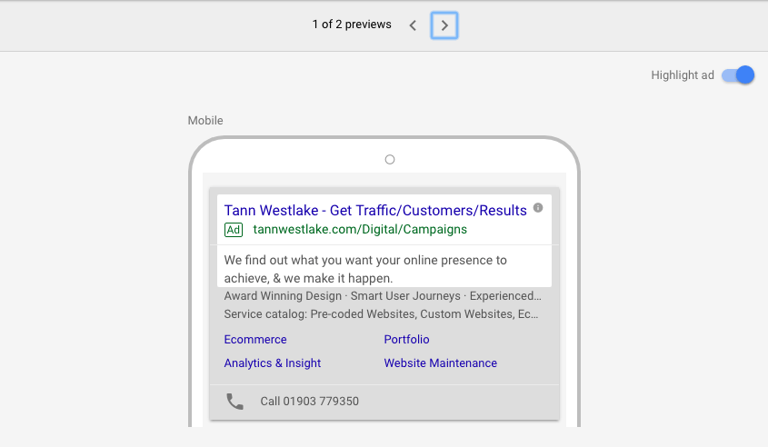 New Google ad copy with extensions