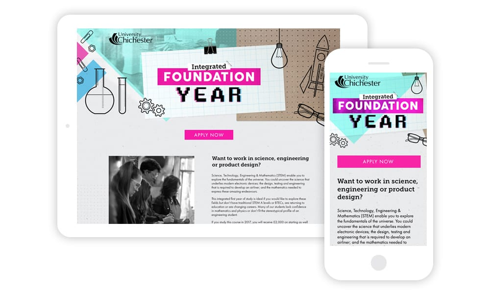 University of Chichester Foundation Year web visuals