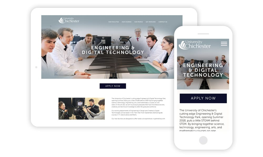 University of Chichester Engineering Digital Technology web visuals