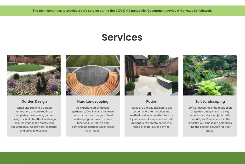'Thyme' for a new website for Dominic Richards Landscaping & Design